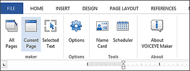screen shot of VOICEYE Maker Plugin for MS Word